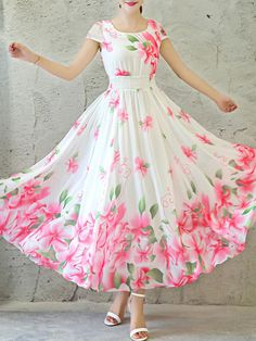 Ericdress is a reliable site offering online cheap dresses for women such as long dresses. Hope you will enjoy the latest dresses like white dresses for women & vintage dresses. Long Gown Dress, Chiffon Maxi Dress, Maxi Dress With Sleeves, Maxi Dresses, Floral Chiffon, Floral Maxi, Dress Shirt, Summer Dresses, Wedding Dresses