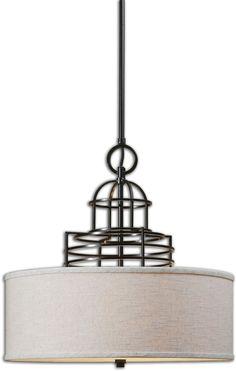 0-016607>Cupola 3-Light Drum Pendant Weathered Bronze