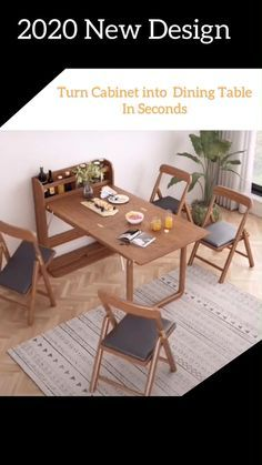special designed for small kitchen , small room , small apartment. order link comes soon! Kitchen Room Design, Home Room Design, Modern Kitchen Design, Home Interior Design, Modern Kitchen Tables, Modern Table, Living Room Designs, Table For Small Space, Furniture For Small Spaces