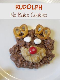 Reindeer or Rudolph Christmas cookies with chocolate and peanut butter nobakes. Cute christmas dessert idea for kids. #DGHoliday #ad