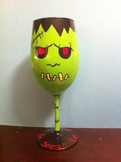 Frankenstein Hand painted Wine glass by Allyson Prince Halloween Wine Glasses, Diy Wine Glasses, Decorated Wine Glasses, Hand Painted Wine Glasses, Wine Glass Crafts, Wine Craft, Wine Bottle Crafts, Wine Glass Candle Holder, Posca Art