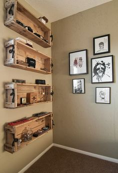 Repurposed shipping crates used as shelving