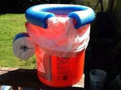 I came across this idea on Pinterest, you take a bucket, a section of pool noodle, a trash bag  and you make your own potty bucket.  Just line the bucket with the trashbag, slip the slit pool noodle over the edge for a toilet seat and attach a roll of TP to the metal handle. Instant, Portable Potty with no fuss!  This is wonderful for camping, long car trips where you don't necessarily want to use public restrooms (especially with little kids!), etc.