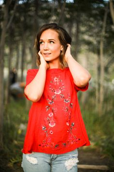 THE ENA EMBROIDERED BLOUSE IN RED// WOMENS CLOTHING