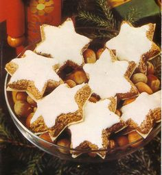 "Cinnamon Stars (Zimtsterne): The Cinnamon Stars are traditional Christmas cookies. These ""Zimtsterne"" cookies are a very traditional part of the Christmas and Advent offerings to guests in Germany. Cinnamon and almonds taste great together. They're designed to keep for a long time, they'll get chewier as time passes."