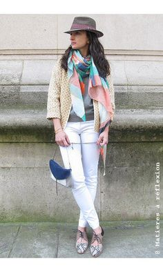 Sessun jeans blanc 'Meridian Brothers' #jeans #pantalon #pants #jean #sessun #blanc #white #sessùn #emmago #matieresareflexion #mapoesie #sweat #pull #veste #kimono #jacket #stetson #chapeau #paille #derbies #ss15 #lookoftheday #picoftheday