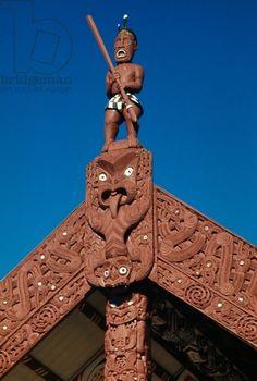Maori warrior, wooden carving, Maori Meeting House, Ohinemutu village, Waitangi, Bay of Islands, New Zealand Maori Legends, Polynesian People, Bay Of Islands, Maori Art, Aboriginal Art, Where The Heart Is, New Zealand, Oc, Buildings