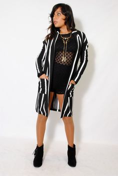 (alx) Long open striped black blazer