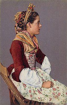Swiss folk costume.  i LOVE the 18th century influence...