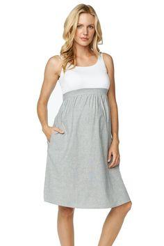 Gianna Empire Seersucker Maternity Dress in White and Navy Seer Sucker