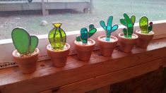 No green thumb needed for these great stained glass cacti! Already potted for you also!  I used a mix of green glasses to create these adorable mini cactus. They are potted in mini terracotta pots and ready to bring some color wherever you place them! Each cactus pot is finished off with loose pebbles.  This listing is for single cacti, but I have the set of 6 listed here: https://www.etsy.com/listing/495314861/set-of-6-stained-glass-cactus-great-gift and the price re... #minicactus