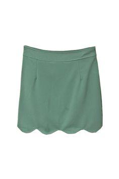 Wave Petal Hem Green Skirt [NCSTI0034] - $36.99 :  romwe.com #Romwe