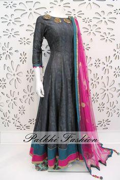 PalkhiFashion Exclusive Full Flair Dark Grey Silk Outfit with Silk Print palazzo Pant. Designer Anarkali Dresses, Designer Dresses, Indian Attire, Indian Wear, Pakistani Outfits, Indian Outfits, Indian Designer Outfits, Party Wear Dresses, India Fashion