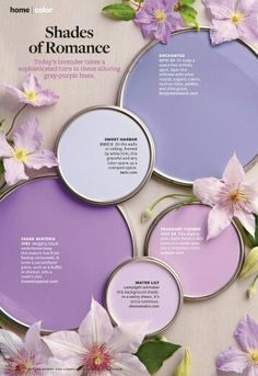Better Homes and Gardens March 2014 - Gorgeous shades of purple paint samples Wall Colors, House Colors, Purple Paint Colors, Colours, Purple Painting, Colour Schemes, Color Combos, Better Homes And Gardens, Bedroom Colors