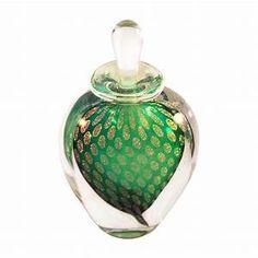 Czech green intaglio cut floral perfume bottle from ...
