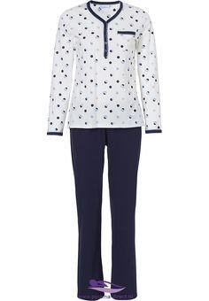 b8c4accb9f  Groovy Circles  Pastunette long sleeved blue   white ladies cotton pyjama  set with 5