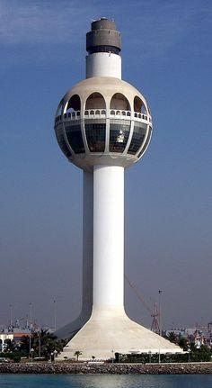 Jeddah Light in Jeddah Saudi Arabia. The world's tallest lighthouse, built in 1990.