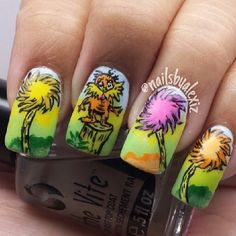 The Lorax | 15 Works Of Nail Art Inspired By Your Favorite Children's Books