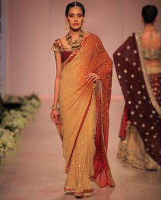 Ombre Beige and Rust Sari by Rocky S