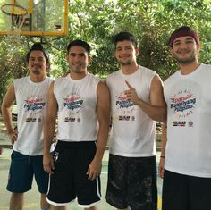 """This is Rayver Cruz, Gerald Anderson, and some Star Magic young men smiling for the camera at an indoor basketball court somewhere in Manila during the taping of the 2016 ABS-CBN Summer Station ID and Halalan 2016 Station ID, """"Ipanalo ang Pamilyang Pilipino!"""" They encouraged the public there to vote wisely. #RayverCruz #GeraldAnderson #Halalan2016 #IpanaloangPamilyangPilipino Indoor Basketball Court, Basketball Players, Sunshine Cruz, Half Filipino, Star Magic, Korean People, Smiling Man, Child Actors, Young Men"""