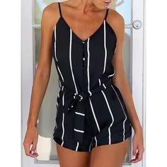 Trendy Spaghetti Strap Striped Button Design Women's Romper