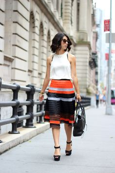 striped skirt - so chic for fall! #NYC #fashion #style
