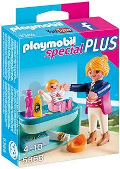 Playmobil – 5368 – Maman avec Bébé et Table à Langer: Maman avec son bébé vêtue d'une jolie grenouillère toute rose. Grâce à sa table à…