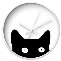 Dot & Bo Peekaboo Cat Wall Clock - White & White ($30) ❤ liked on Polyvore featuring home, home decor, clocks, white home accessories, white clock, battery operated wall clock, cat clock and black cat clock