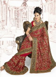 Sparkling Red Color Faux Georgette Based Embroidered #Saree
