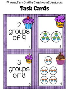 Fern Smith's Classroom Ideas Freebie Friday ~ FREE Relating Addition to Multiplication Task Cards with a Cupcake Theme, an additional Go Math, Third Grade, Chapter Three resource. Multiplication Activities, Math Rotations, Math Activities, Math Centers, Numeracy, Maths, Math Fractions, Math Games, Teaching Math