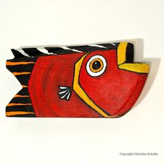 Red Fish Painted Wood Folk Art