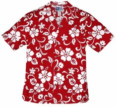 Classic Hibiscus<br>Men's Hawaiian Shirt<br>Matching chest pocket<br>100% Cotton<br>