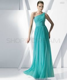 A-line Asymmetric Shoulder Draped Chiffon Long Turquoise Bridesmaid Dress