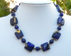 """Vintage Murano Glass, Venetian Bead Necklace, Cobalt Blue and 24 Karat Gold Foil """"Exposed Gold"""" 20mm Squares & 10mm Round Handmade Beads"""