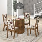 Conjunto Para Sala De Jantar Mesa E 4 Cadeiras Viero Via Com Tampo