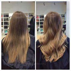 Tänk vad lite ljusare partier i längderna kan göra! Vi slingar håret lätt i en balayage teknik, och gör sedan en infärgning för en mjukare ton  #freehandbleach #stockholm #sweden