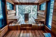 A land of a thousand lakes – finding winter magic in Finland's Lahti region Large and expansive. The Sauna with a view. Every Sauna should have a view.–Lehmonkärki resort, in the land of a thousand lakes. Sauna Steam Room, Sauna Room, Design Sauna, Sauna Hammam, Piscina Spa, Sauna House, Window In Shower, Room Window, Outdoor Sauna