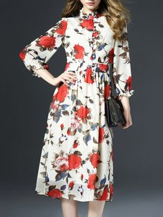 White Floral V neck 3/4 sleeve Swing Casual Floral-print Chiffon Midi Dress
