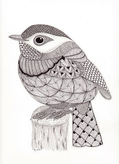 Tangled Little Flycatcher – Zentangle Birds. Design Ideas Inspirations - Tangled Little Flycatcher – Zentangle Birds Zentangle Drawings, Bird Drawings, Zentangle Patterns, Doodle Drawings, Doodle Art, Zentangles, Zen Doodle, Zentangle Animal, Mandala Art