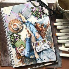Likes, 81 ko … – # ko # Moral - Kunst Skizzen Art Inspo, Kunst Inspo, Inspiration Art, Copic Kunst, Copic Art, Marker Kunst, Marker Art, Arte Bar, Art Sketches
