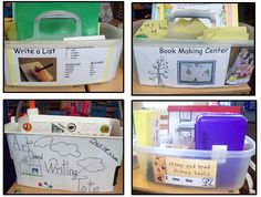"Organized Writing Totes Allow Teachers—and Volunteers—to Support and Challenge ALL Children.    All of the materials needed for these authentic book and list making centers are contained in an organized tote that children can use independently or with the help of a volunteer.  Differentiated learning is built into the process.  From ""Kindergarten Writing and the Common Core"" by Nellie Edge."