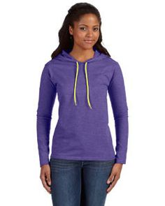 Anvil Adult Lightweight Hooded T-Shirt HTH BLU//NEON YEL XXX-Large