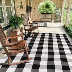 Farmhouse Rugs, Farmhouse Decor, Checkered Floors, Washable Rugs, Buy Rugs, Outdoor Settings, Floor Decor, White Rug, Buffalo Plaid