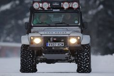 #LandRover Defender Bigfoot, custom-built in Land-Rovers Special Projects Division for off-road recovery. These well-travelled beasts run on enormous tyres, enabling them to power their way through the deepest snow.