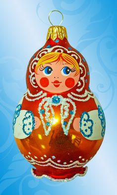 Matryoshka (Russian nesting doll) - Christmas tree ornament. It is made of glass and hand-painted.