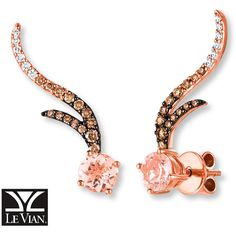 LeVian Morganite Earrings 1/2 cttw Diamonds 14K Strawberry Gold ($1,700) ❤ liked on Polyvore featuring jewelry, earrings, 14 karat gold earrings, 14 karat gold diamond earrings, diamond swirl earrings, yellow gold diamond earrings and 14k gold earrings
