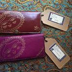 Available in two color- after buy tell me which color you want to be shipped.Leather wallet with hand painted Oriental motifs- hand stitched- sale for mothers day  bag Persian  stitched# Indian Lotus Motifs    leather