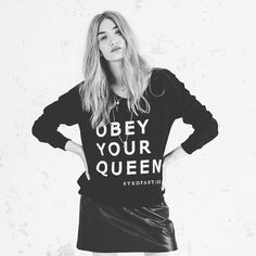 Stedfast London Black obey your Queen sweatshirt leather skirt model