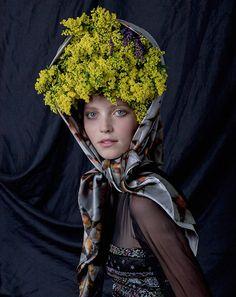 head scarf, flowers,