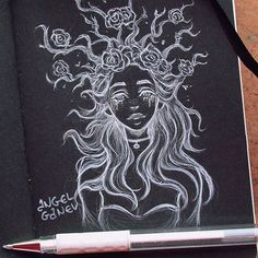 No photo description available. Cute Drawings, Drawing Sketches, Drawings Pinterest, Black Paper Drawing, Arte Sketchbook, Sketch Inspiration, Wow Art, Character Drawing, Pretty Art